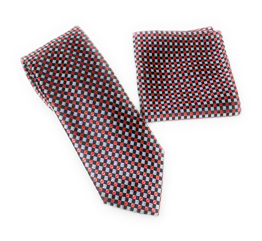 Burgundy, Black and Silver Designed Tie With Matching Pocket Square