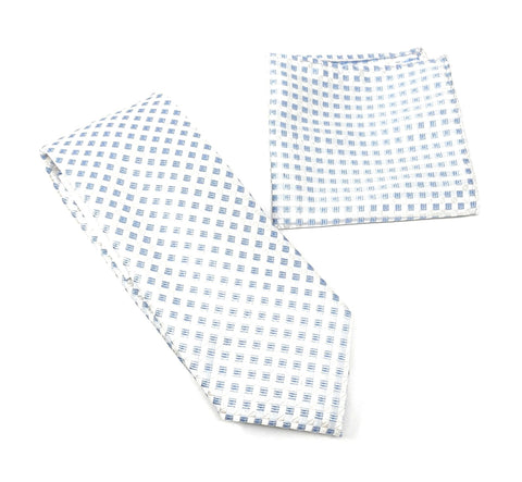 Baby Blue, Gray and Silver Designed Tie With Matching Pocket Square