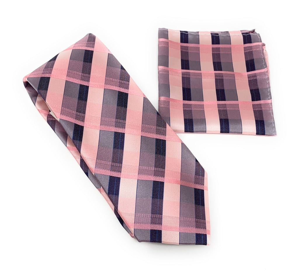 Pink Striped with Navy and Pink Squared Designed Tie With Matching Pocket Square