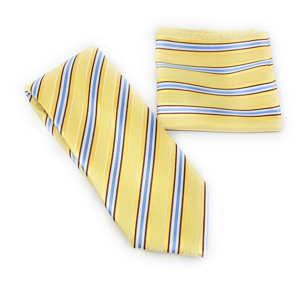Yellow, Burgundy, Silver and Burgundy Striped Designed Tie With Matching Pocket Square