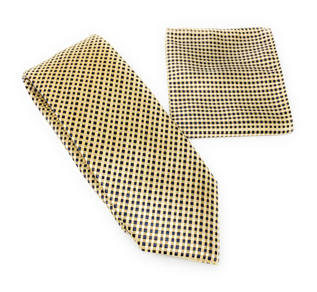 Gold Stripes with Black Squared Designed Tie With Matching Pocket Square