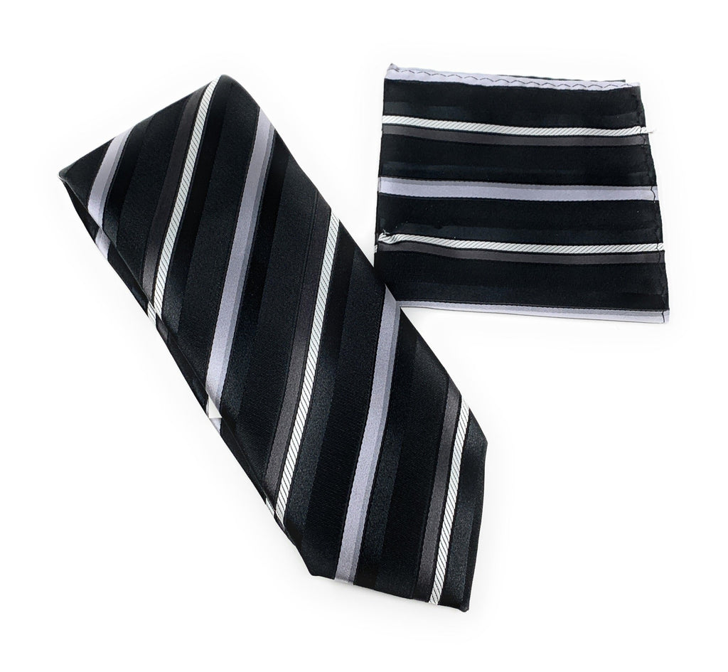 Black, Gray, Silver and Charcoal Stripped Tie With Matching Pocket Square