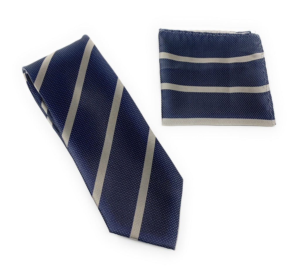 Navy with Silver Specks and Gray Striped Tie With Matching Pocket Square