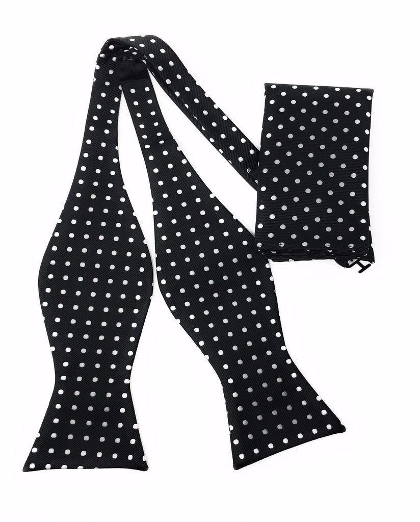 Black With Silver Dots Self Tie Bow Tie With Matching Pocket Square