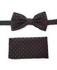 Black With Red Dots Pre Tied Silk Bow Silk Tie With Matching Pocket Square