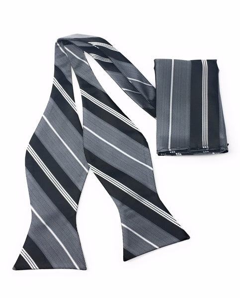 Grey & Black Self Tie Silk Bow Tie Set