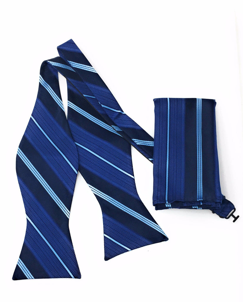 Navy & Light Blue Stripe Self Tie Silk Bow Tie With Matching Pocket Square