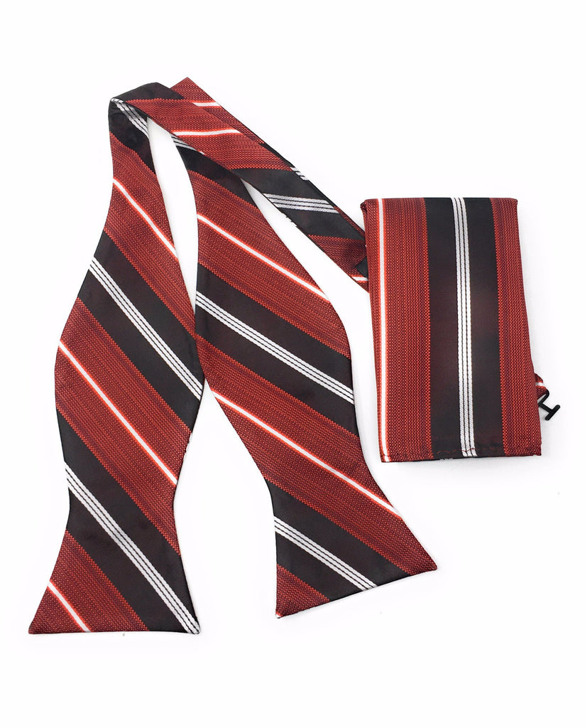 Red & Black Self Tie Silk Bow Tie With Matching Pocket Square