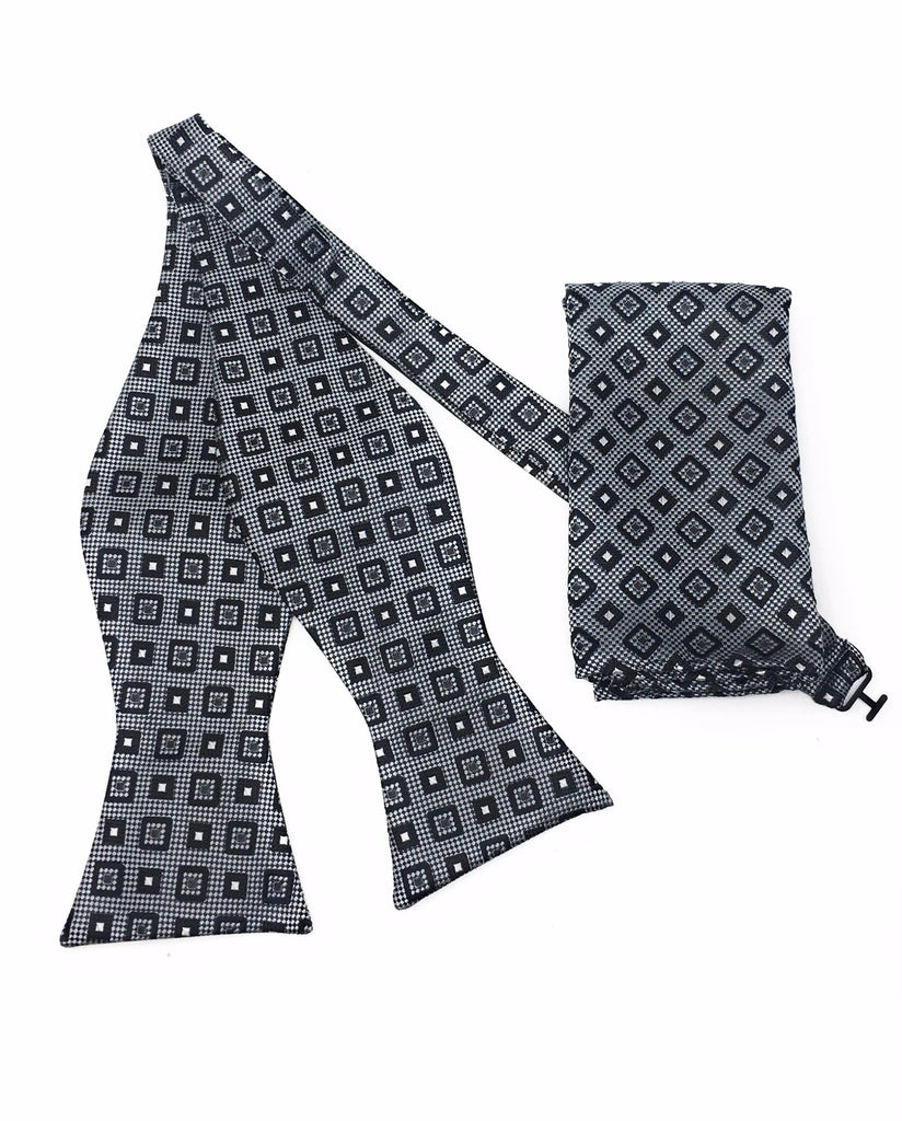 Grey & Black Block Self Tie Silk Bow Tie Set