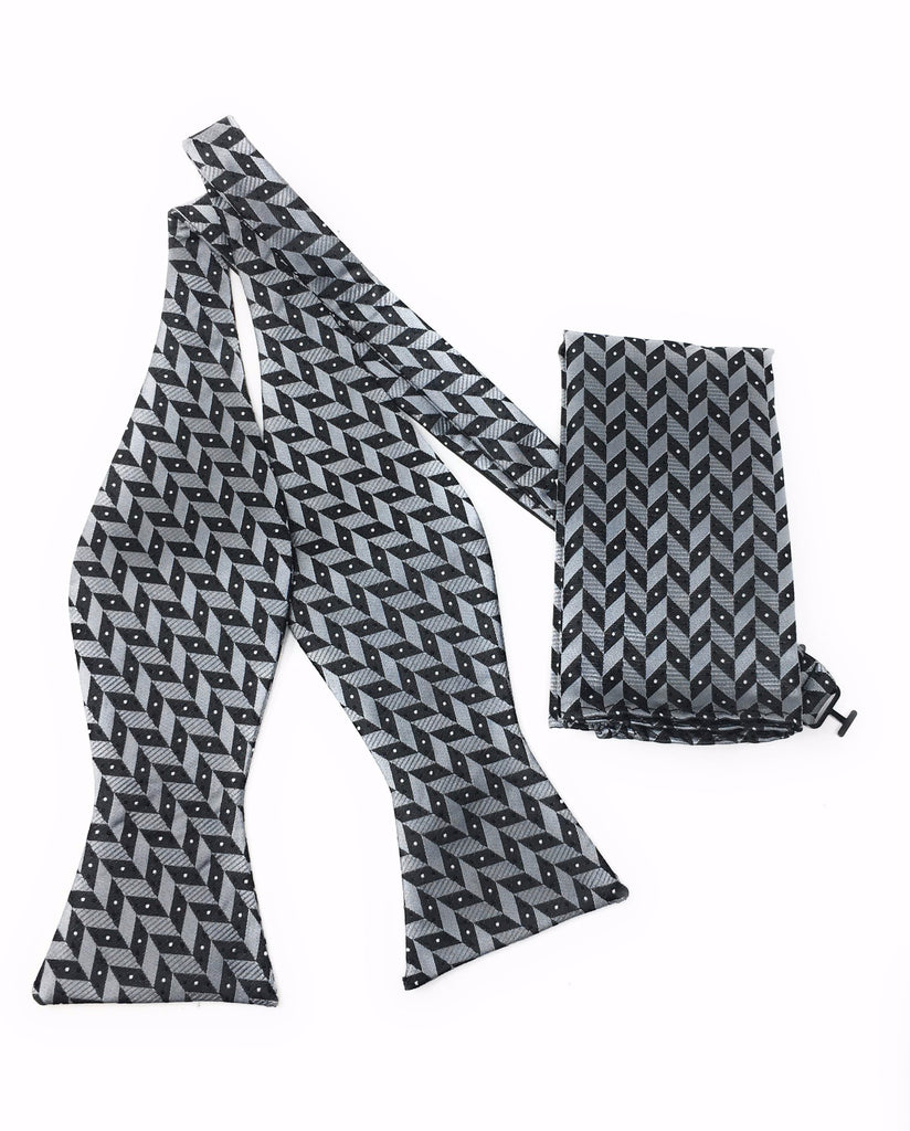 Charcoal Abstract Self Tie Silk Bow Tie Set Including Pocket Square