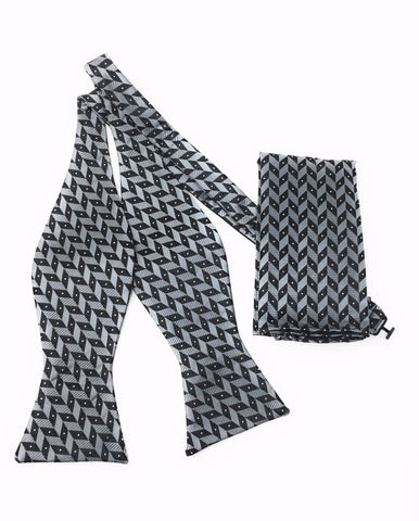 Charcoal Abstract Self Tie Silk Bow Tie Set
