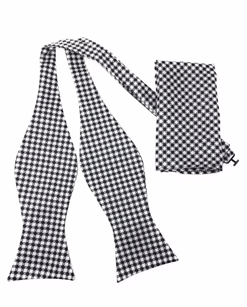 Black & Off White Houndstooth Silk Self Tie Bow Tie With Matching Pocket Square