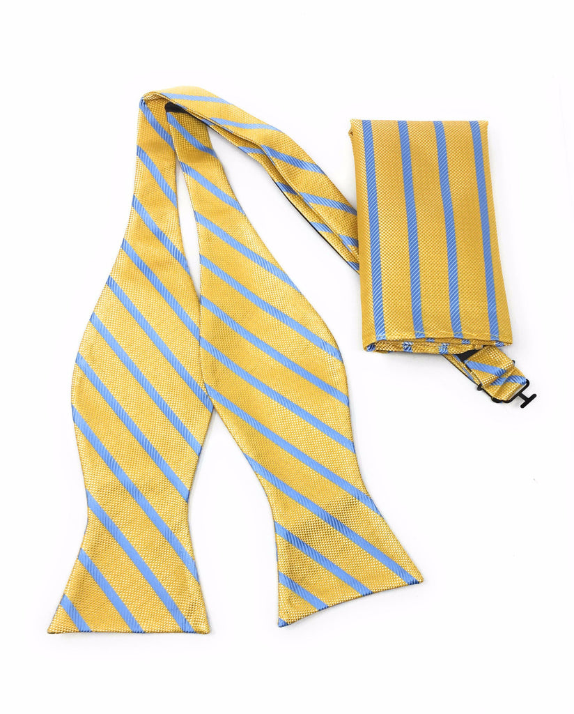 Gold & Sky Blue Regal Silk Self Bow Tie With Matching Pocket Square