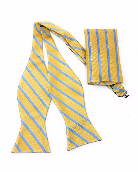 Gold & Sky Blue Regal Silk Self Bow Tie Set Including Pocket Square