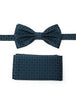 Navy & Green Pre Tied Silk Bow Tie With Matching Pocket Square