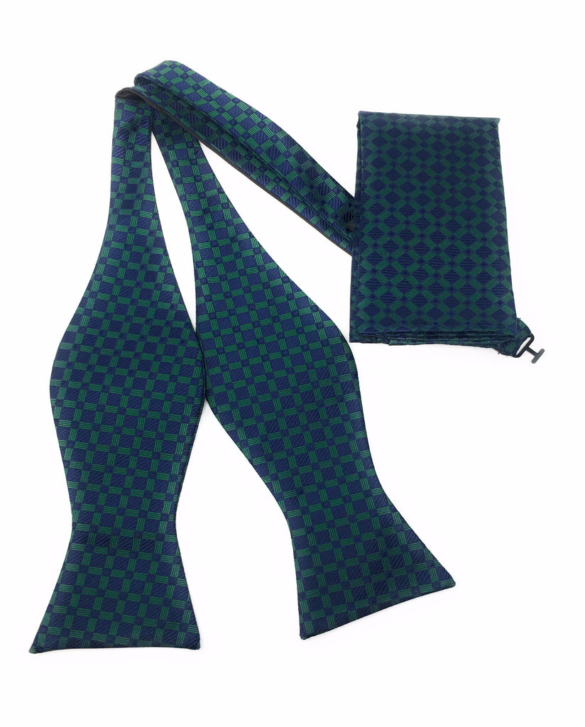 Navy & Green Squares Self Tie Silk Bow Tie With Matching Pocket Square