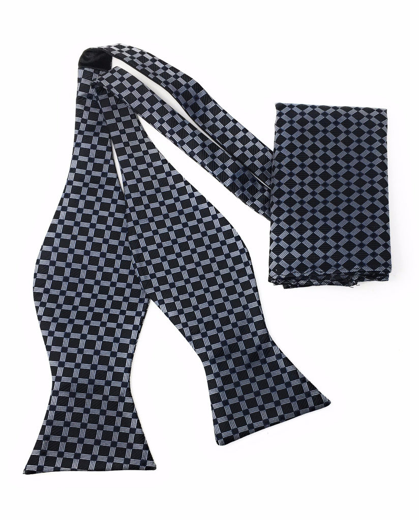 Charcoal Grey & Silver Squares Tie Silk Bow Tie Set Including Pocket Square