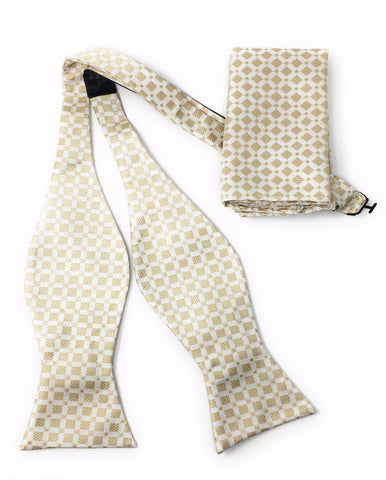 Beige With Silver Squares Self-Tie Bow Tie Set