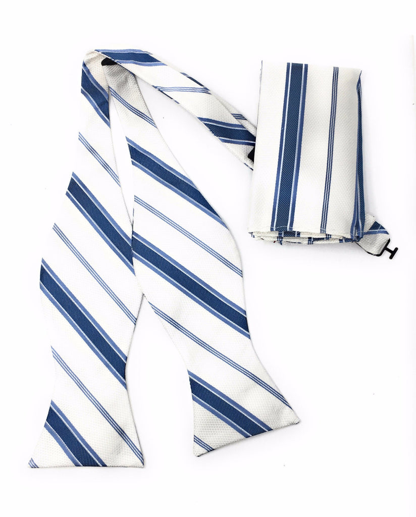 Off White & Blue Regal Self-Tie Bow Tie With Matching Pocket Square