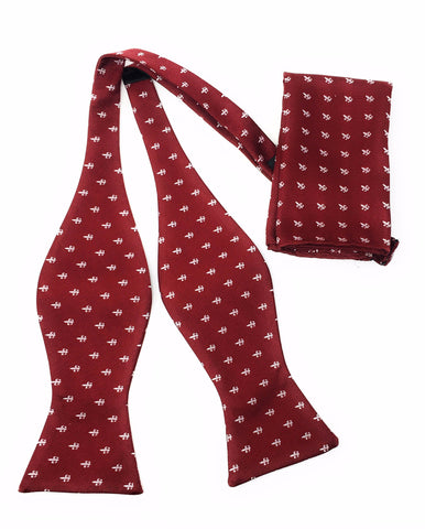 Burgundy With Gray Design Self-Tie Bow Tie Set