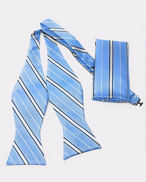 Sky Blue & Navy Self Tie Silk Bow Tie Set Including Pocket Square