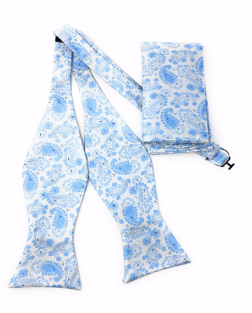 Sky Blue Paisley Self-Tie Bow Tie With Matching Pocket Square