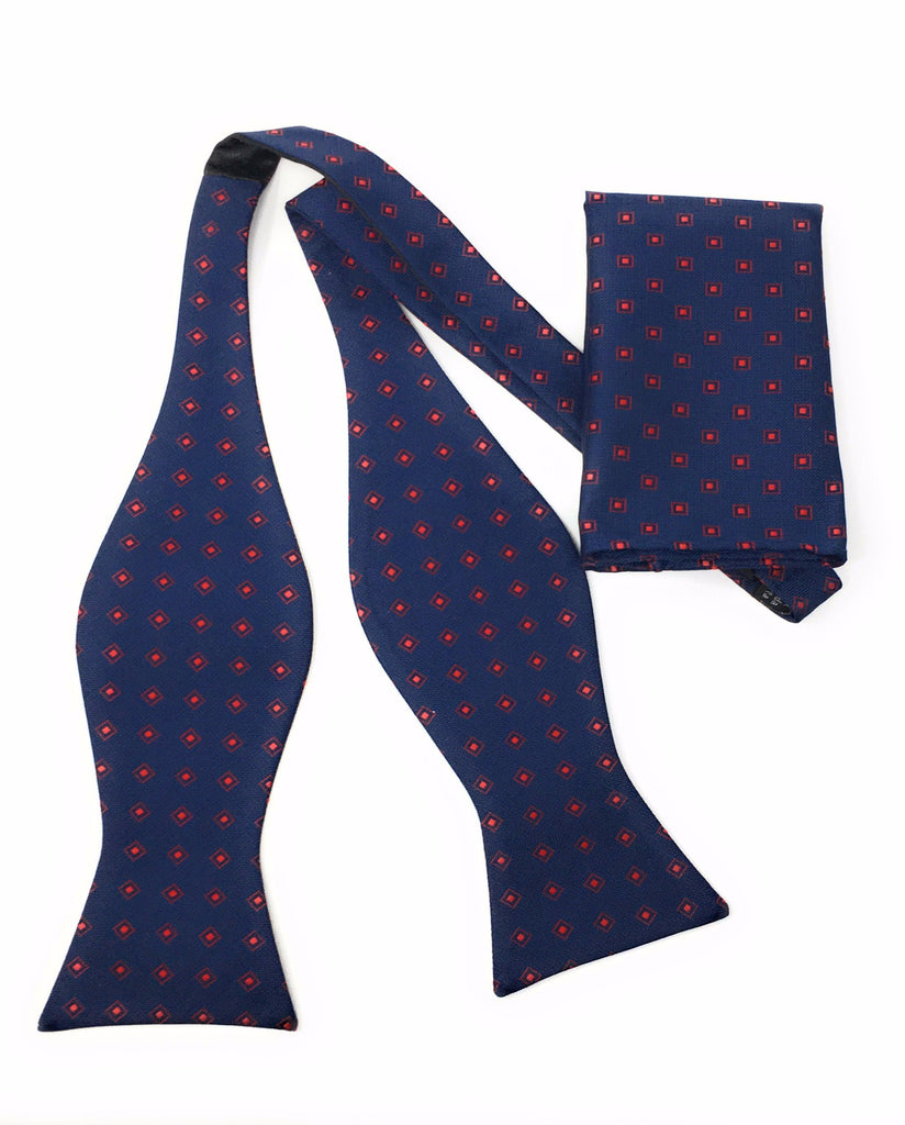 Navy & Red Diamonds Self Tie Bow Tie With Matching Pocket Square