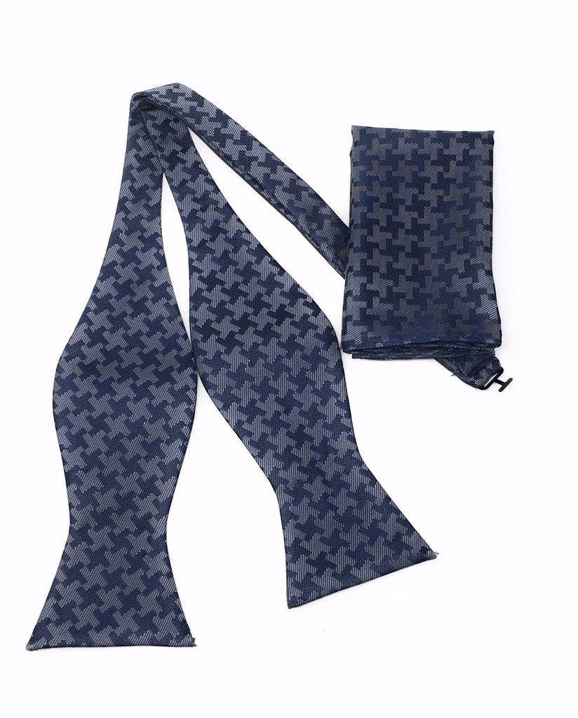 Navy Abstract Self Tie Silk Bow Tie With Matching Pocket Square