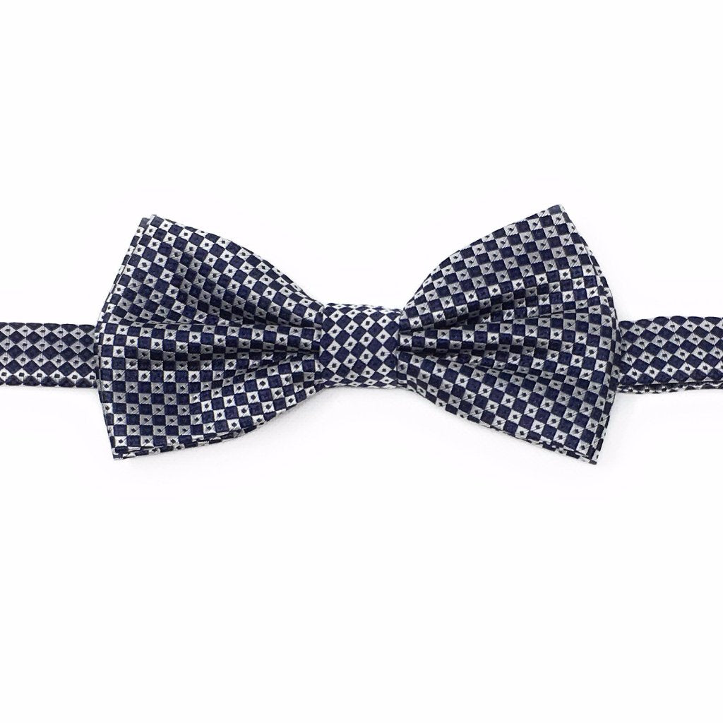 Navy & Silver Mini Squares Pre Tied Silk Bow Tie With Matching Pocket Square