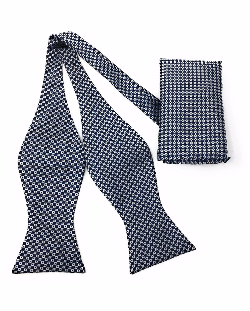 Navy & Silver Mini Squares Self-Tie Bow Tie With Matching Pocket Square