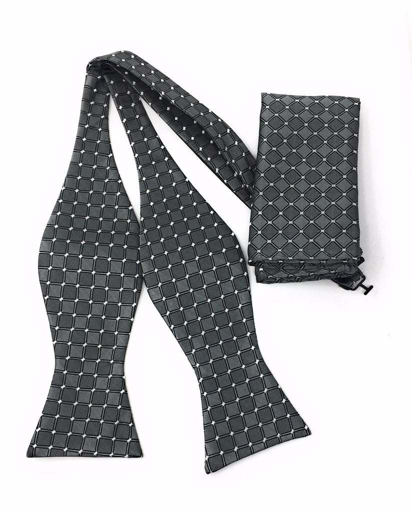 Charcoal Grey & Silver Diamond Self Tie Silk Bow Tie Set