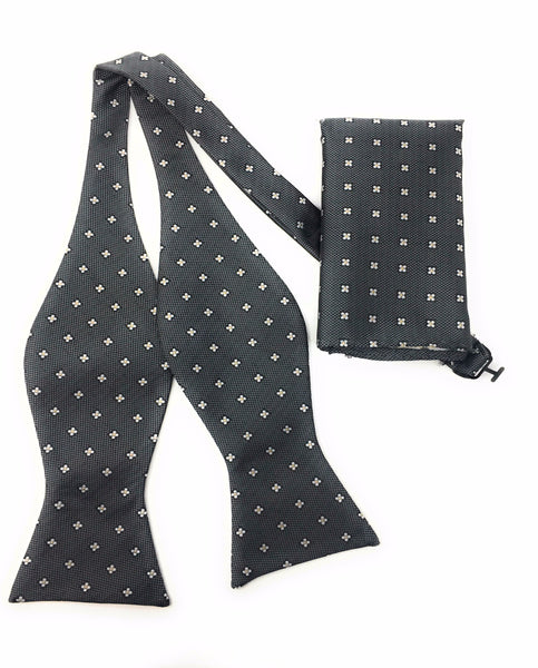 Charcoal Grey & Silver Self Tie Silk Bow Tie Set