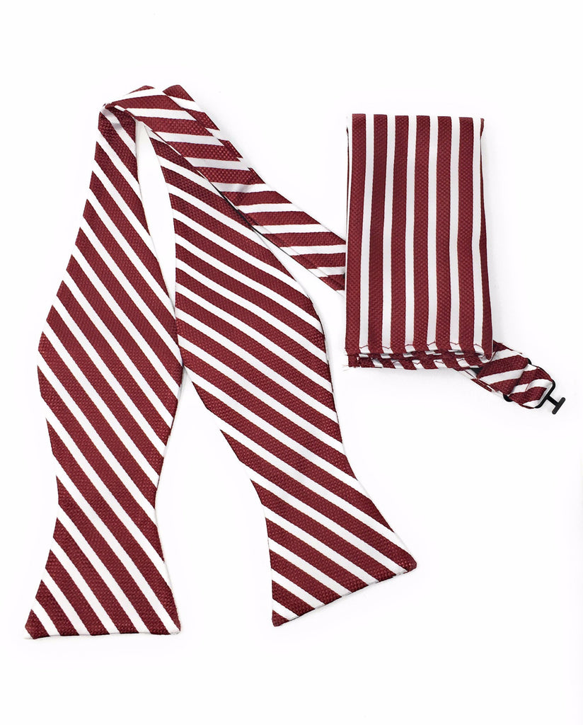 Burgundy & White Regal Silk Self Tie Bow Tie With Matching Pocket Square