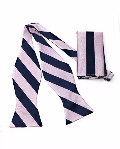 Navy & Pink Regal Silk Self Bow Tie Set Including Pocket Square