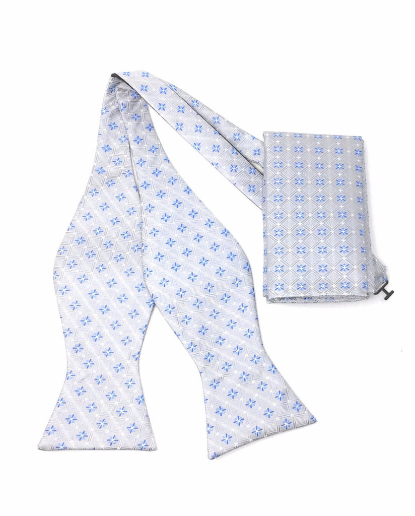 Silver & Blue Abstract Self Tie Silk Bow Tie With Matching Pocket Square