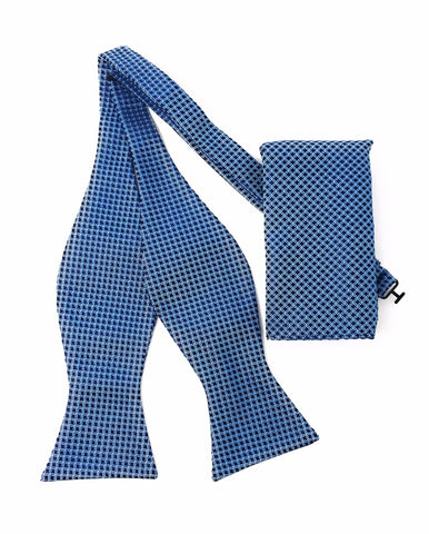 Sky Blue with Navy Squares Self Tie Silk Bow Tie Set Including Pocket Square