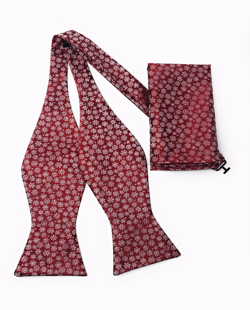 Burgundy Abstract Self Tie Silk Bow Tie With Matching Pocket Square
