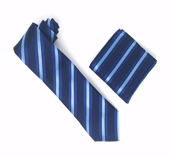 Blue, Baby Blue and Navy Striped Silk Tie With Matching Pocket Square
