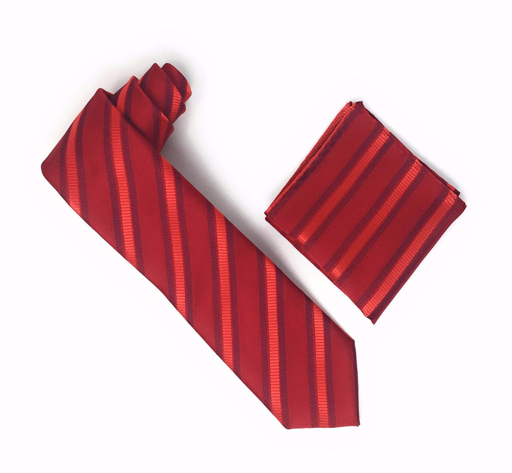 Red and Cherry Red Striped Extra Long Silk Tie With Matching Pocket Square