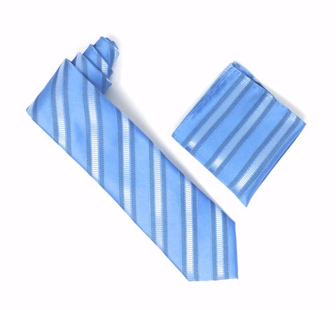 Baby Blue Striped Extra Long Silk Tie With Matching Pocket Square