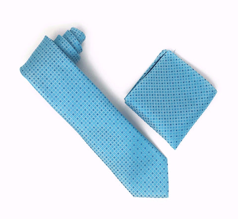 Aqua and Navy Blue Designed Silk Tie With Matching Pocket Square