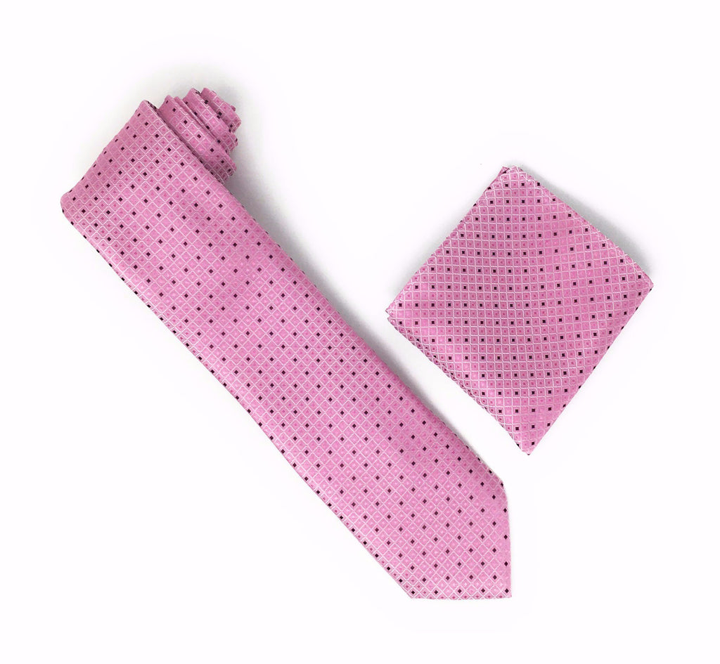 Pink Squared Design with Solid Pink and Burgundy Squares Silk Tie With Matching Pocket Square