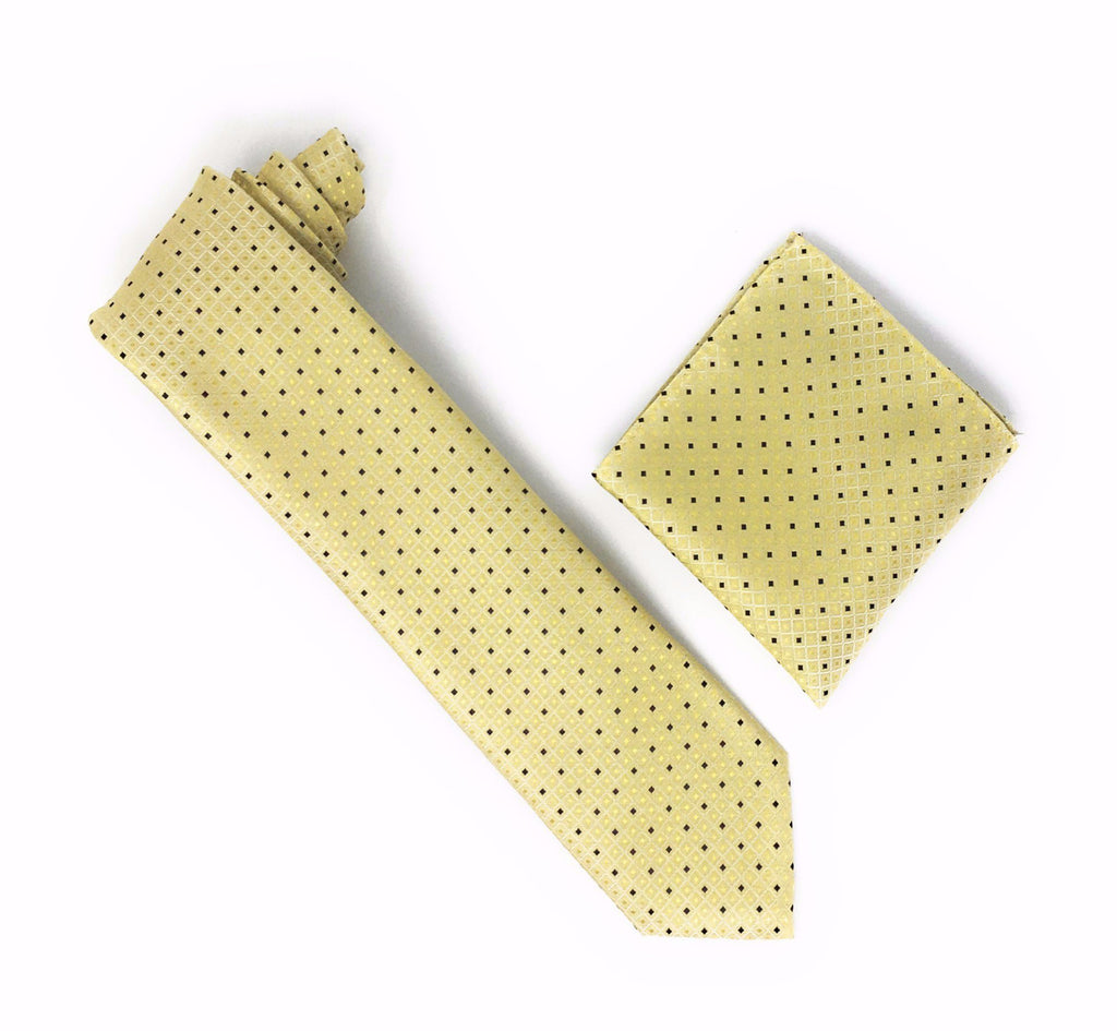 Yellow Blonde Squared Designed with Navy and Yellow Blonde Solid Squares Extra Long Silk Tie With Matching Pocket Square