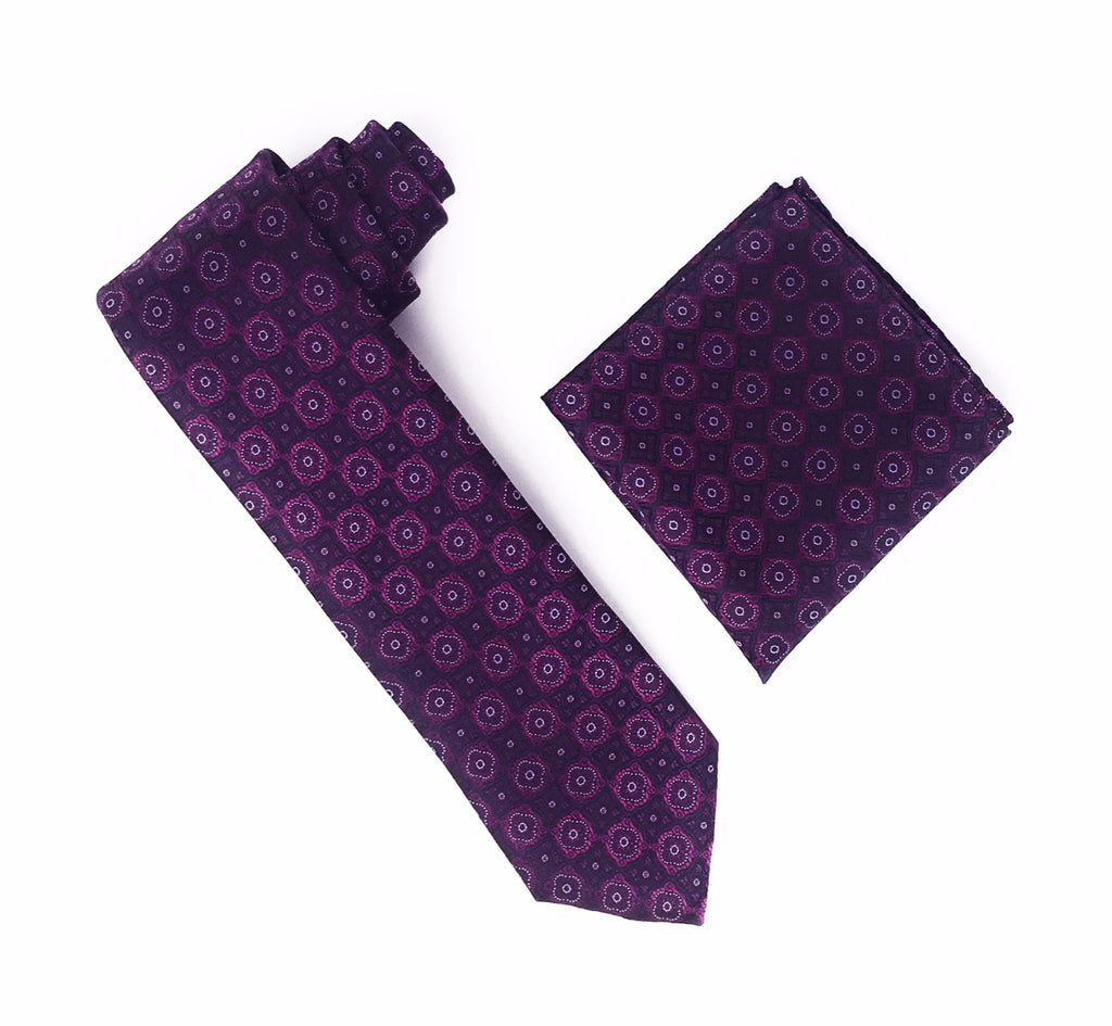 Purple, Sangria and Light Purple Designed Extra Long Silk Tie With Matching Pocket Square