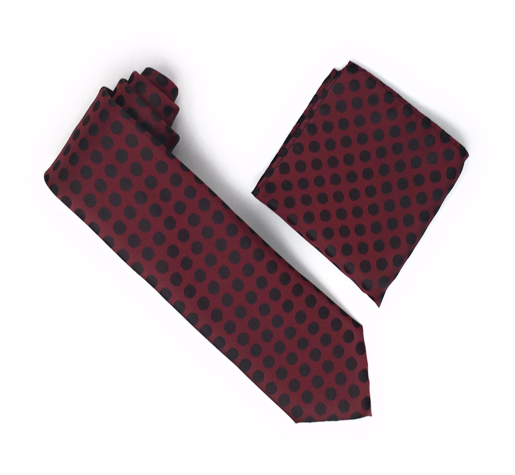 Burgundy with Merlot Colored Polka Dots Silk Tie With Matching Pocket Square