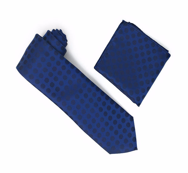 Blue with Navy Polka Dots Extra Long Silk Tie With Matching Pocket Square
