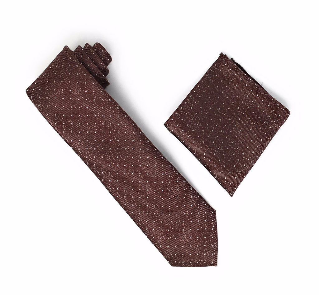 Brown with Metallic Gold Flakes & Silver Mini Dots Extra Long Silk Tie With Matching Pocket Square