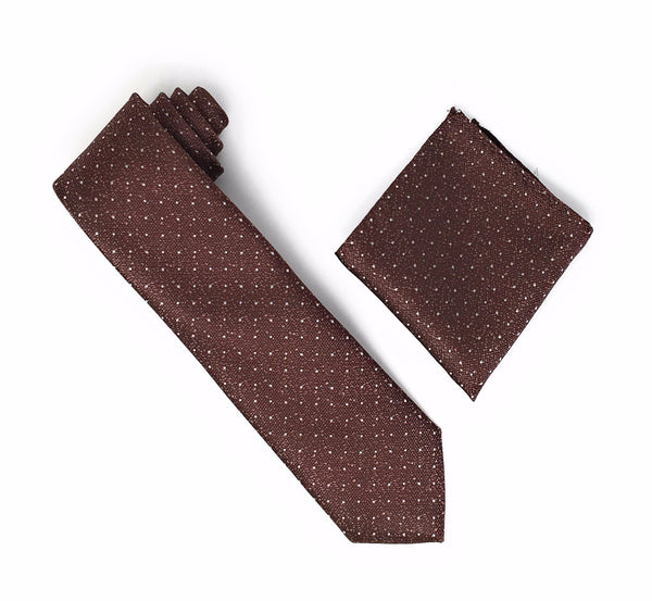 Brown with Metallic Gold Flakes & Silver Mini Dots Silk Tie With Matching Pocket Square