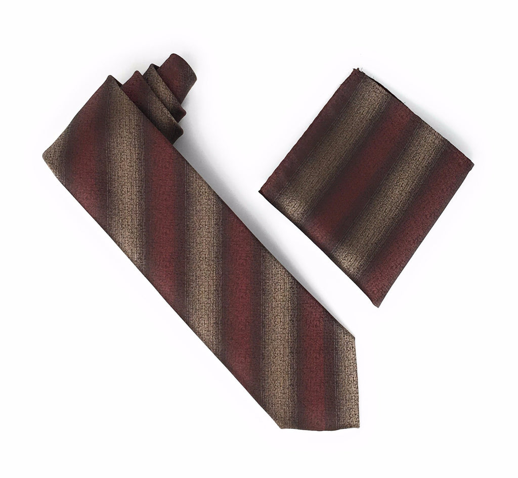 Brown, Tan & Coffee Striped Silk Tie With Matching Pocket Square