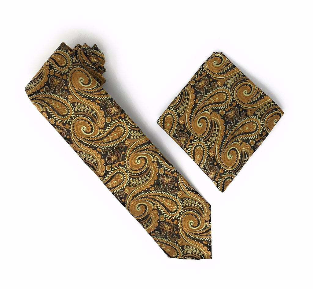 Mocha, Butterscotch & Tawny Paisley Silk Tie With Matching Pocket Square